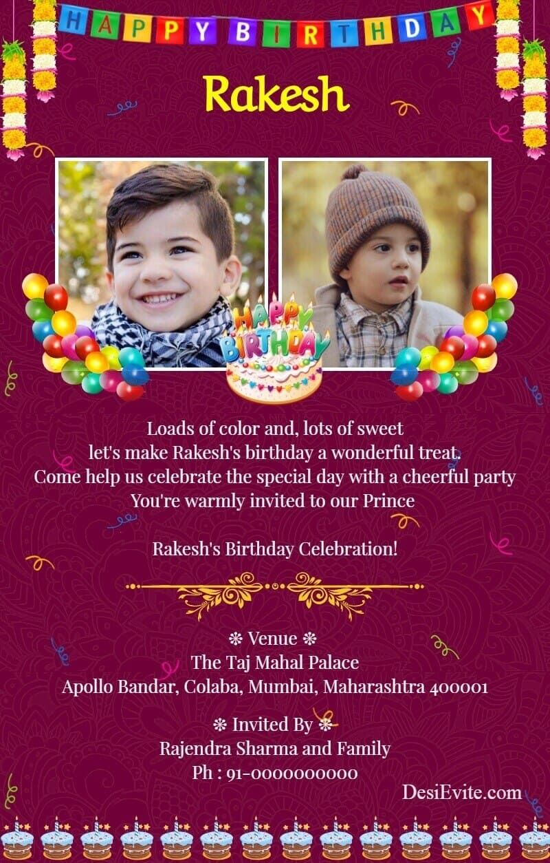 indian western birthday invitation card template 172