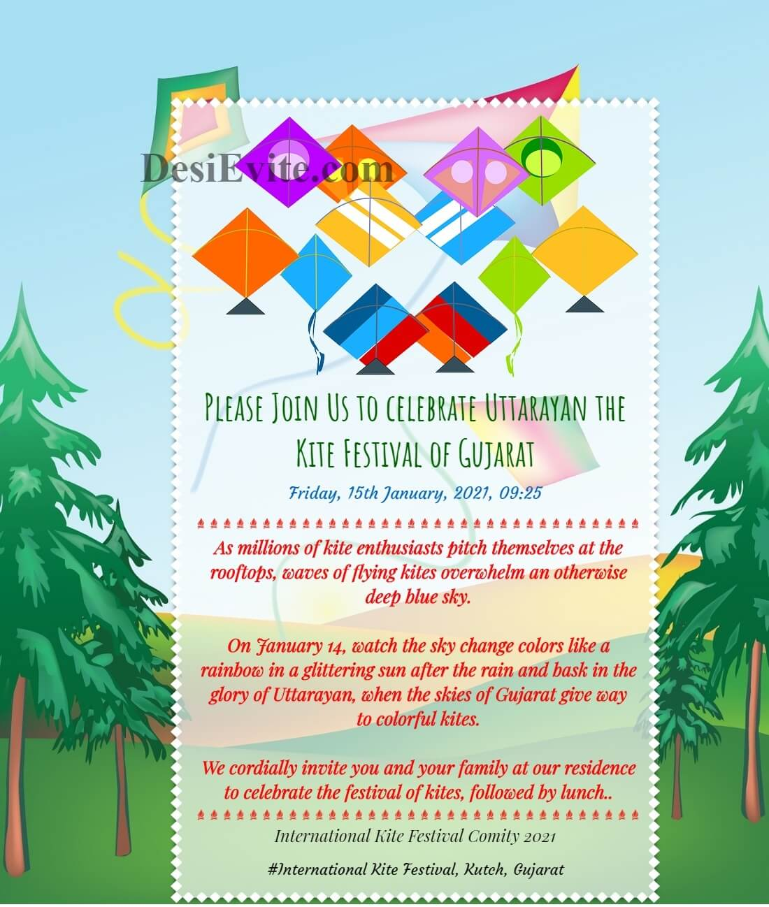 kite festival invitation ecard