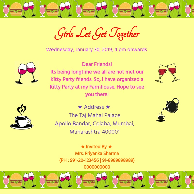 kitty party invitation card template 154