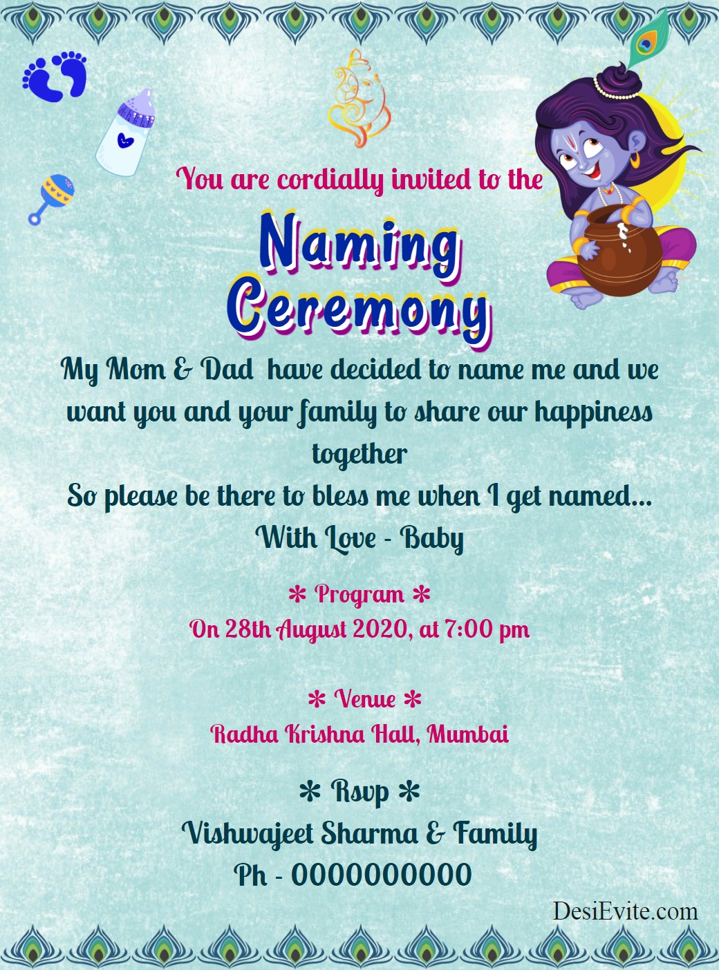 krishna theme naming ceremony card template 83