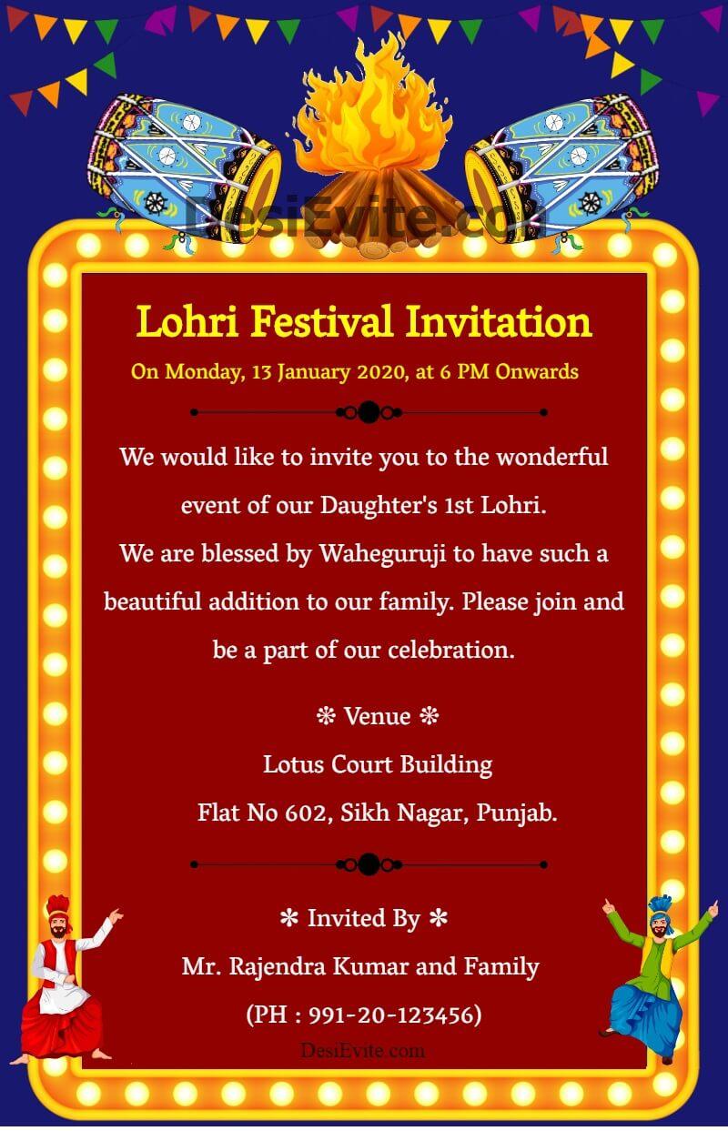 lohri celebration invitation card with dhol 127