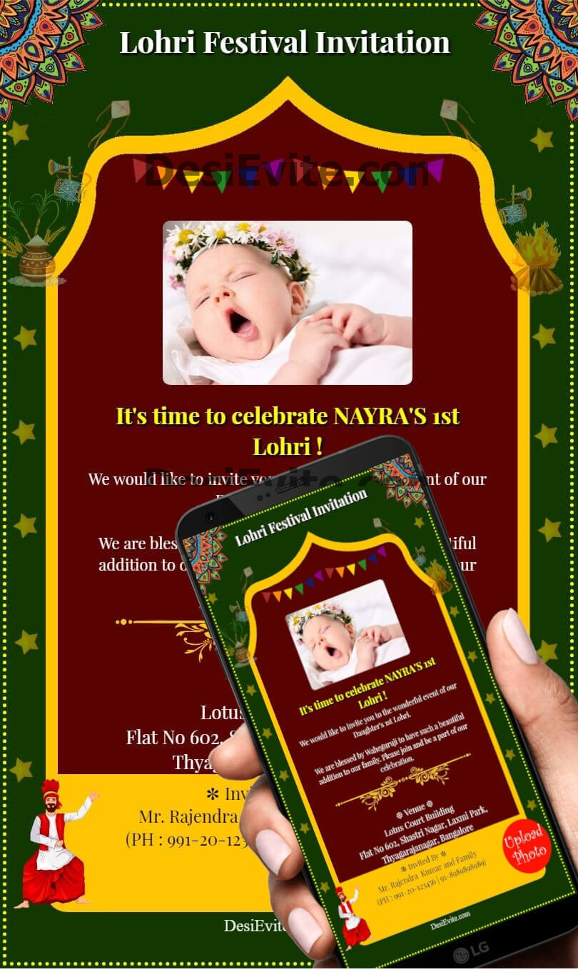 lohri invitation card ornamental design template 72 93