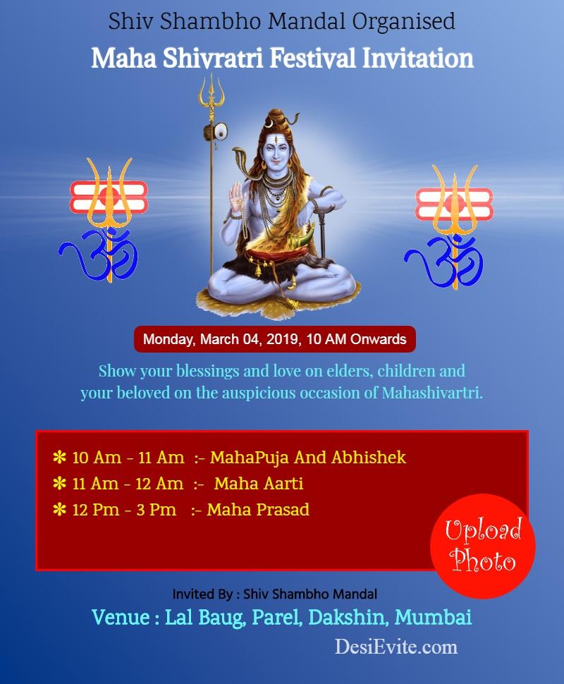 maha shivaratri program invitation card template 32