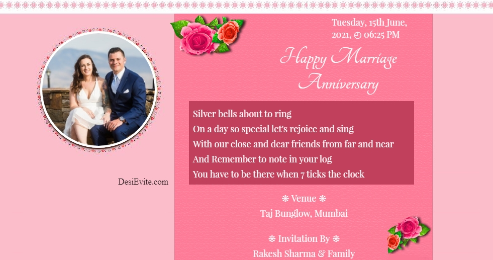 marriage anniversary invitation card with photo 133