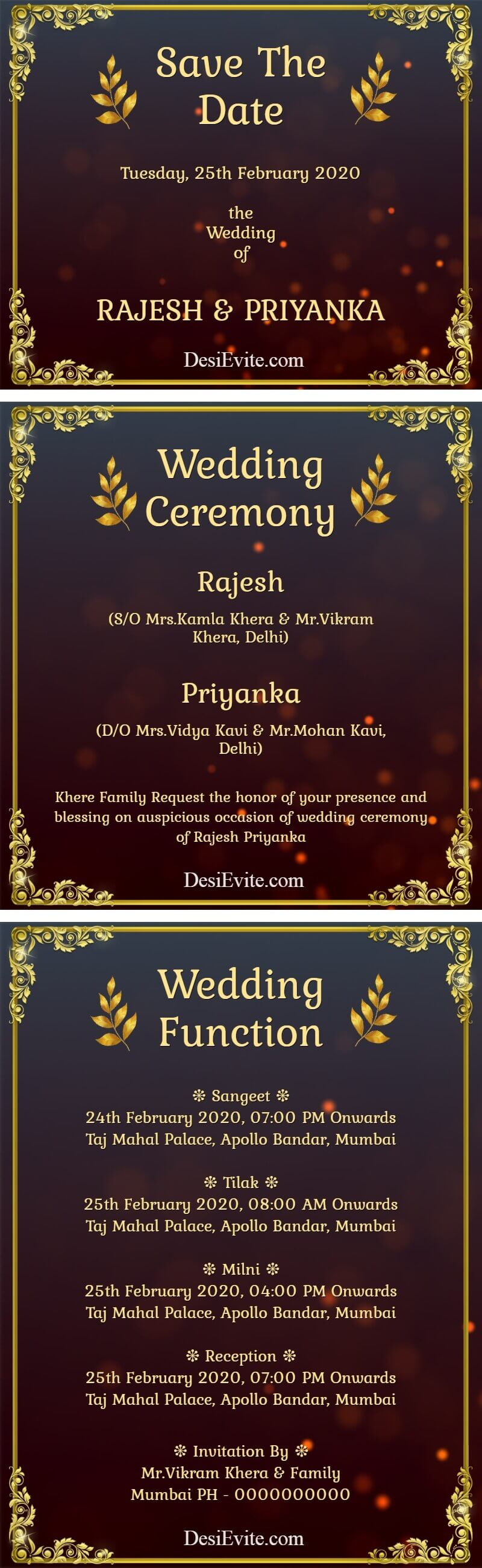 multiple function 3 pages wedding card poster 59