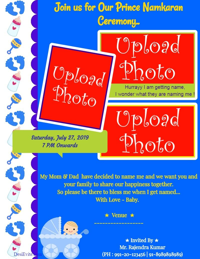 naming ceremony boy with 3 photos template 71