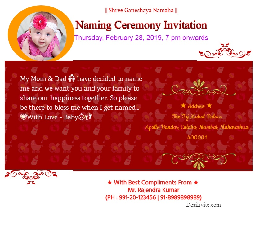 naming ceremony invitation card floral 1 template 70