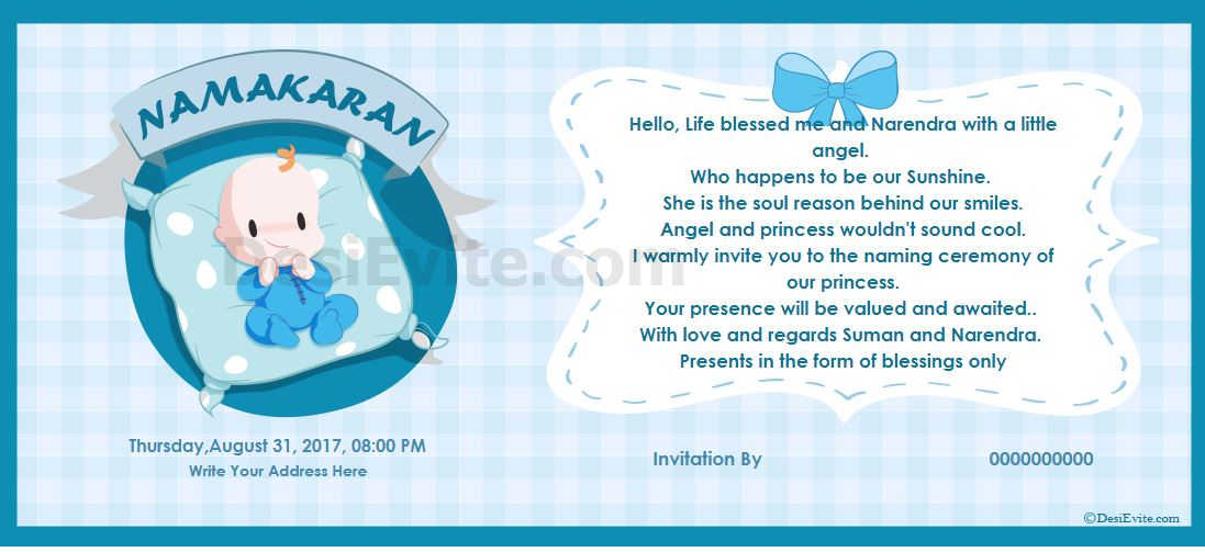 Invitation card ceremony hindi chhathi in Hindu Invitation