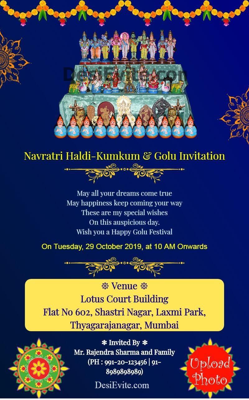 navratri golu haldi kumkum card with photo template 143