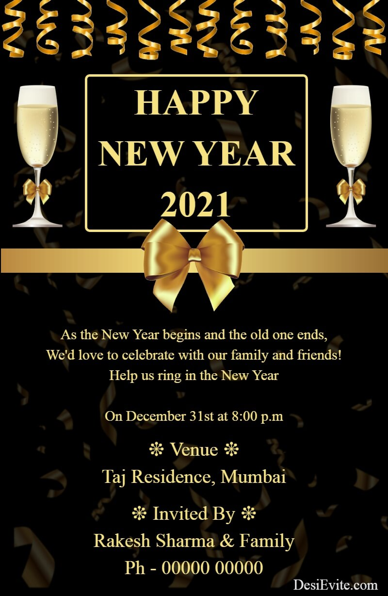 new year party celebration card golden theme template 156