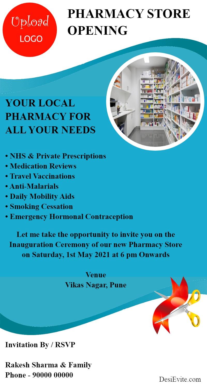 pharmacy store inauguration card photo upload template 117 120
