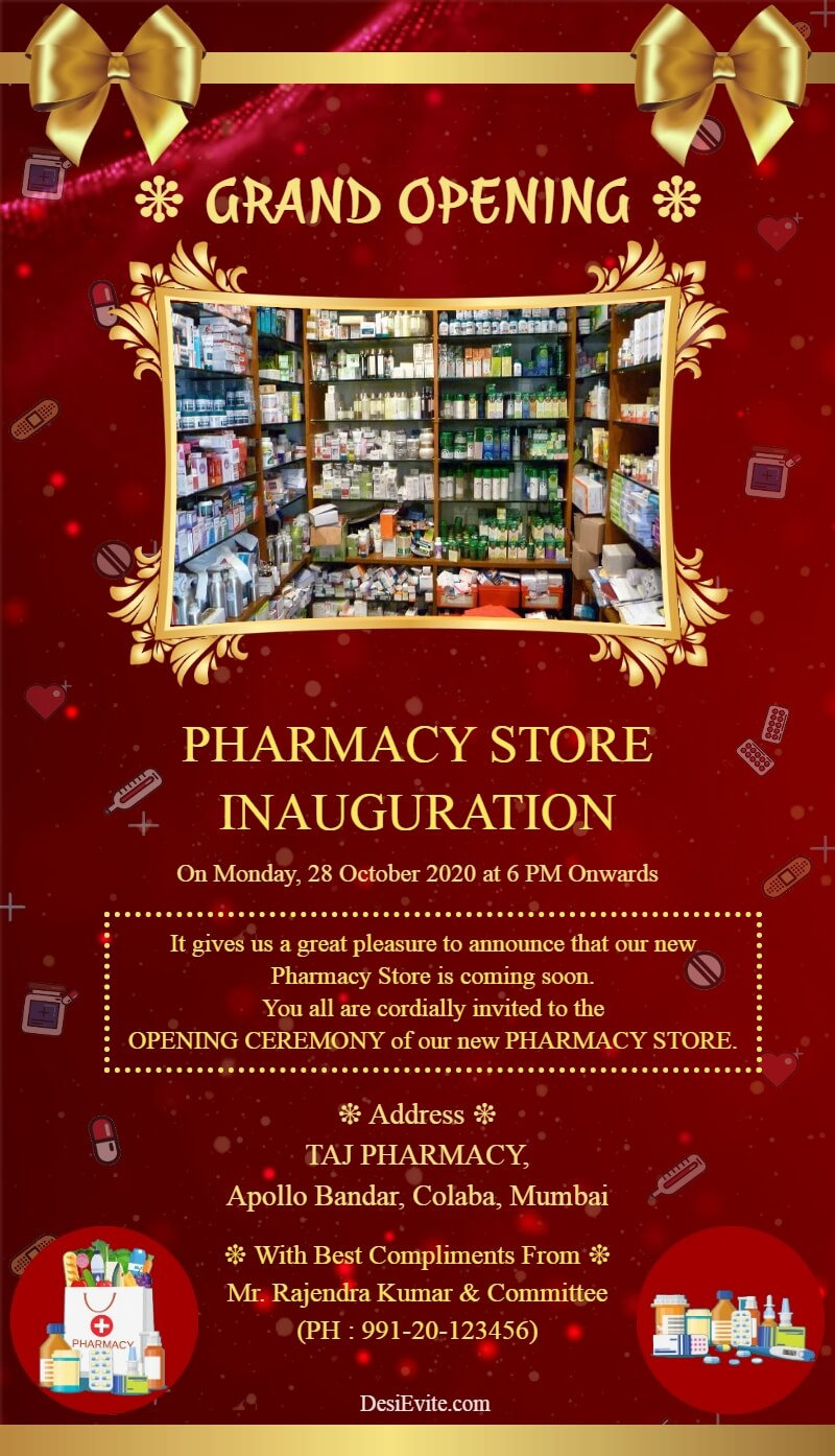 pharmacy store inauguration ecard template 53 184