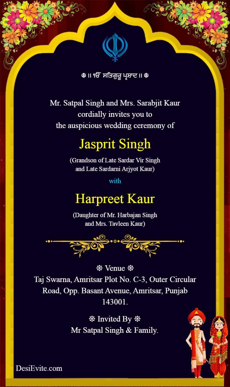 punjabi sikh wedding invitation ecard without photo template 114