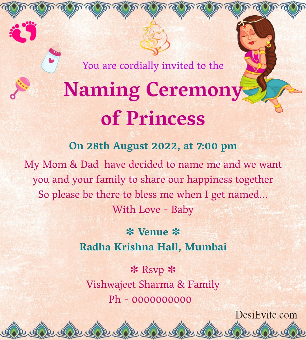 radha theme naming ceremony card template 192