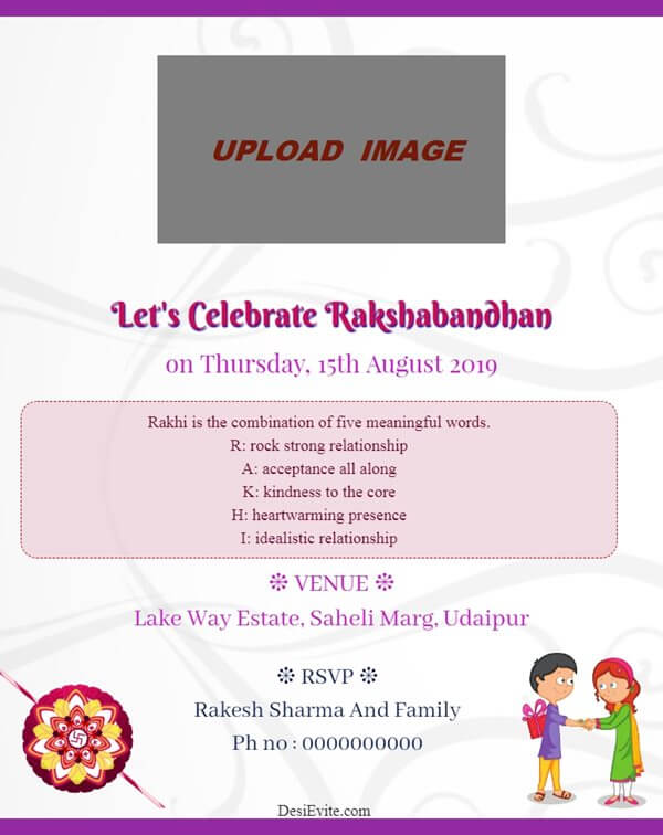 rakshabandhan invitation card with photo 109