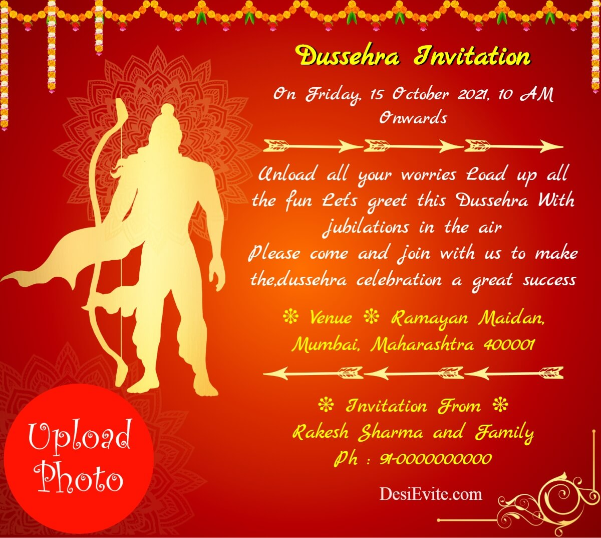 ravanvadh invitation card