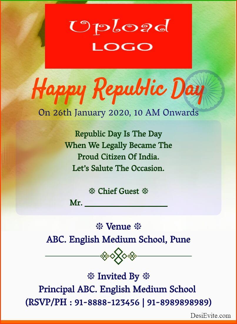 republic day invitation card abstract design template 63