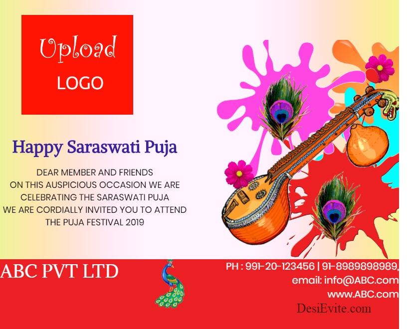 saraswati puja vasant panchami greeting card template 97