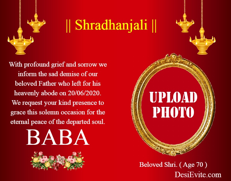 shradhanjali english greeting e card template 116