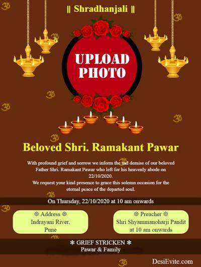 shradhanjali english invitation ecard template 141