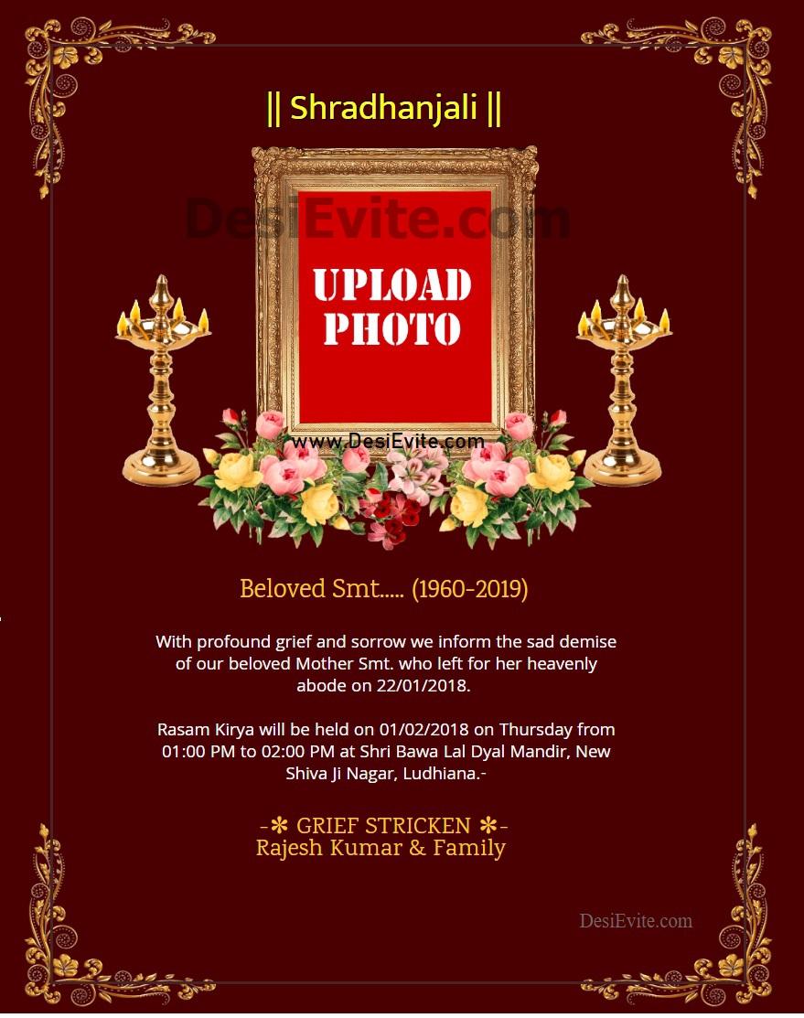 shradhanjali invitation card 102