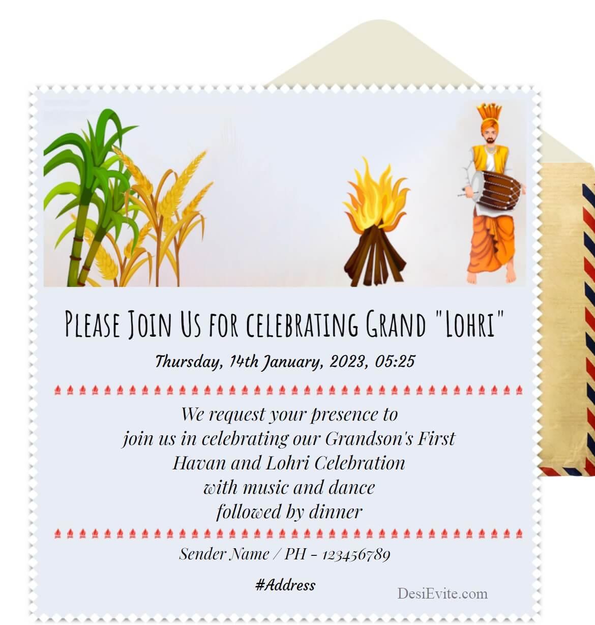 simple 1st Lohri invitation card image 147