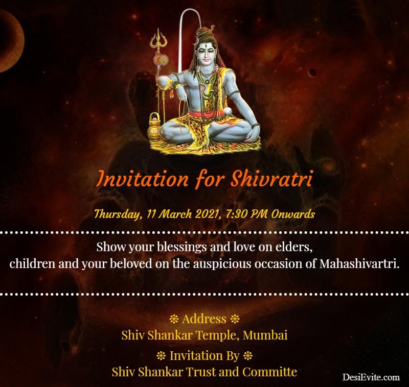 simple mahashivratri invitation card 34