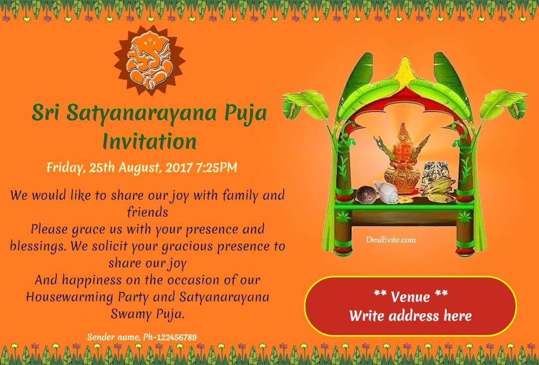 Sri Satyanarayana Puja with lord Ganesha