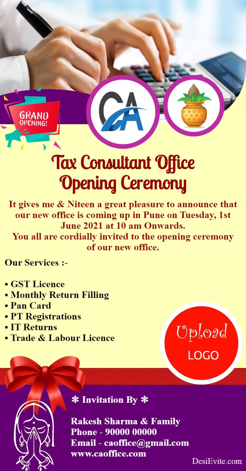 tax consultant office opening card template 102