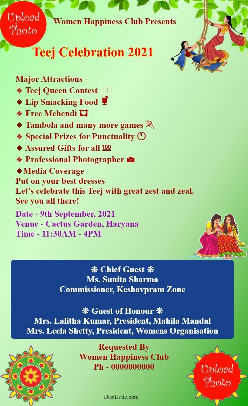 teej invitation card for womens club template 114