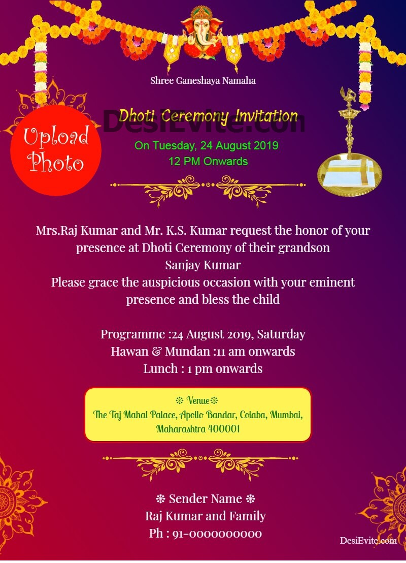 traditional dhoti ceremony invitation card with photo template 38