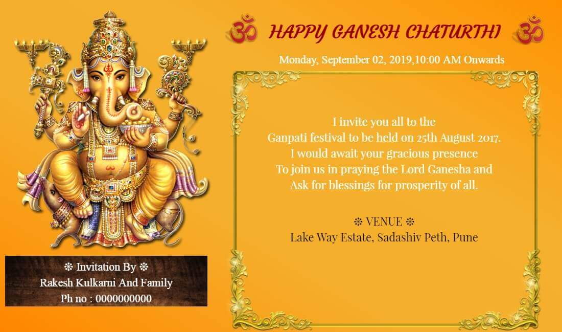 traditional ganesh chaturthi card with om 170 84