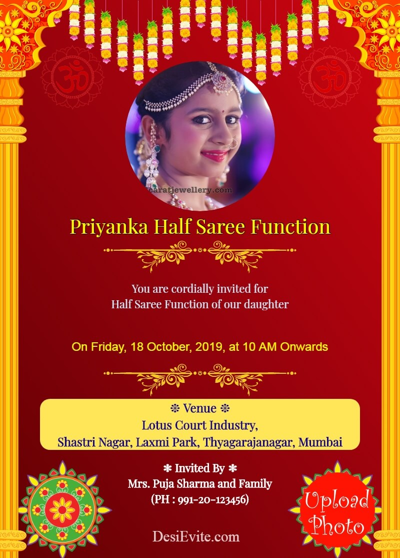 traditional half saree function with 2 photos template 24