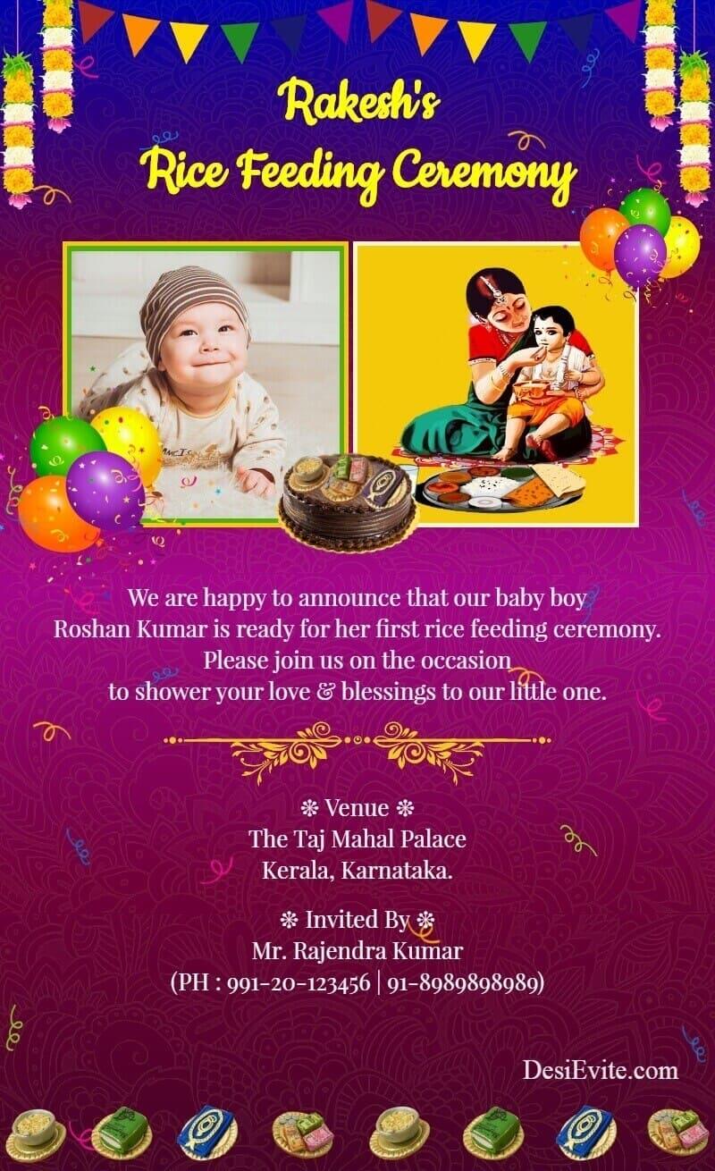 traditional hindu rice feeding invitation card template 25