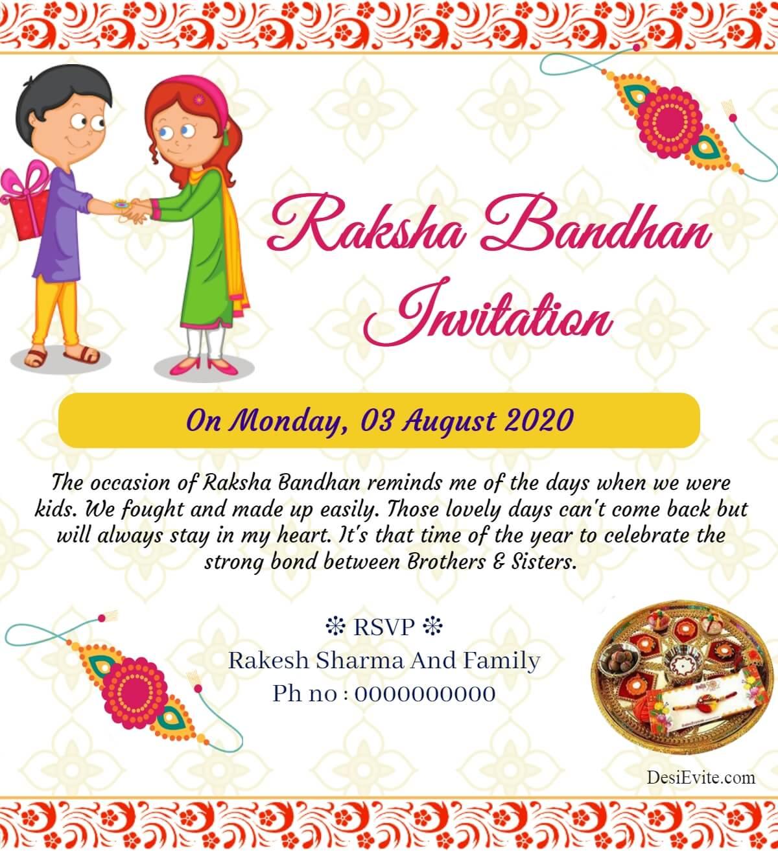 traditional rakshabandhan invitation card 148