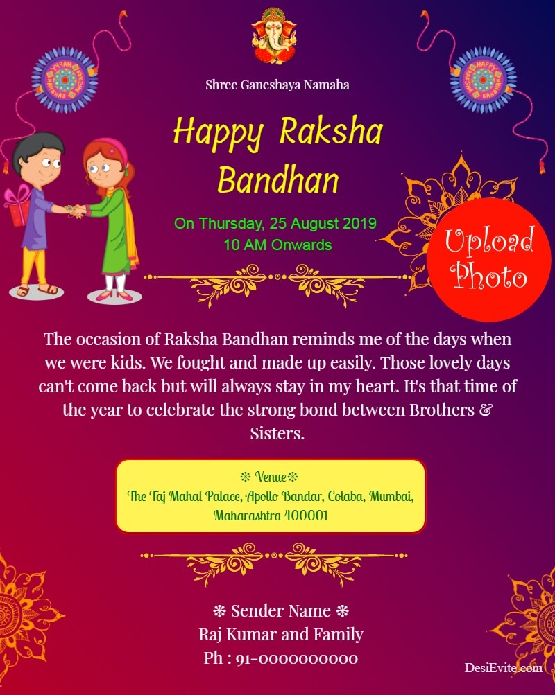 traditional rakshabandhan invitation card template 175