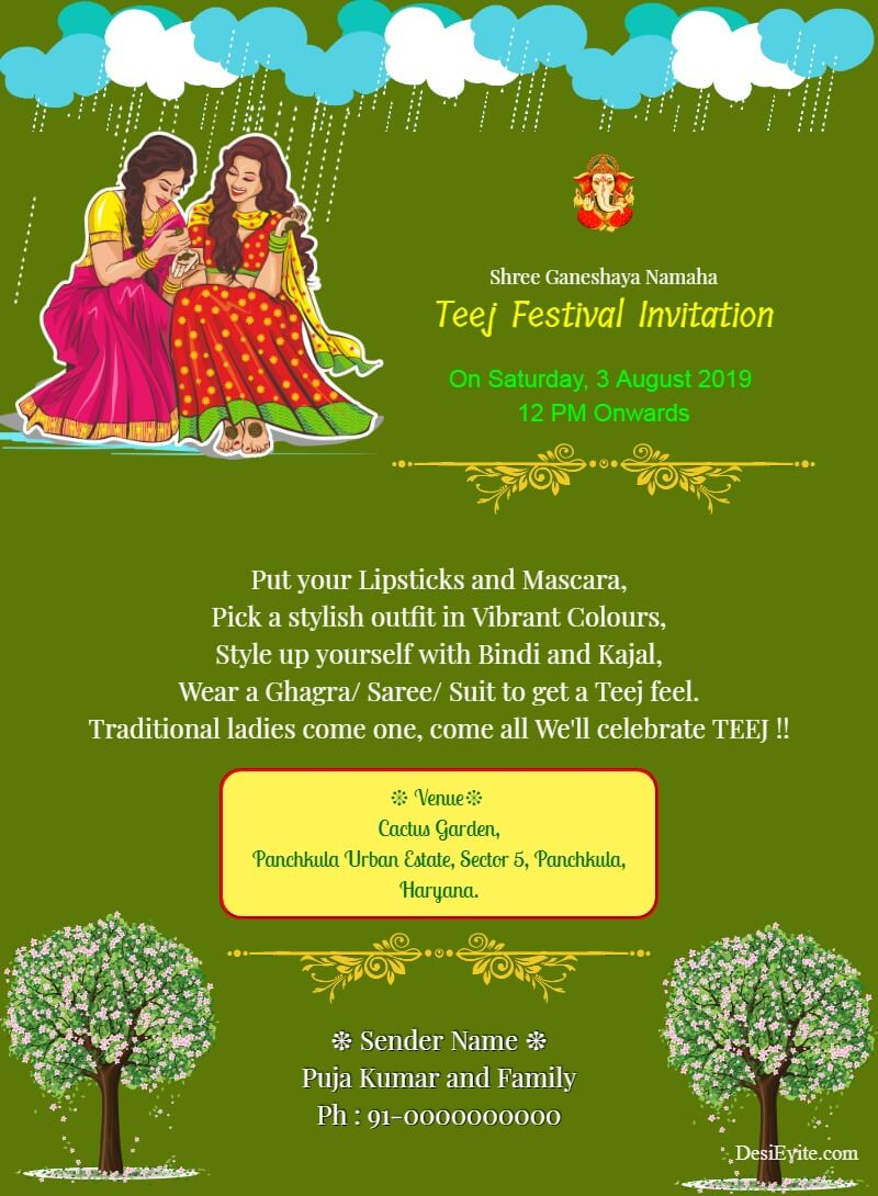 traditional teej invitation card template 80