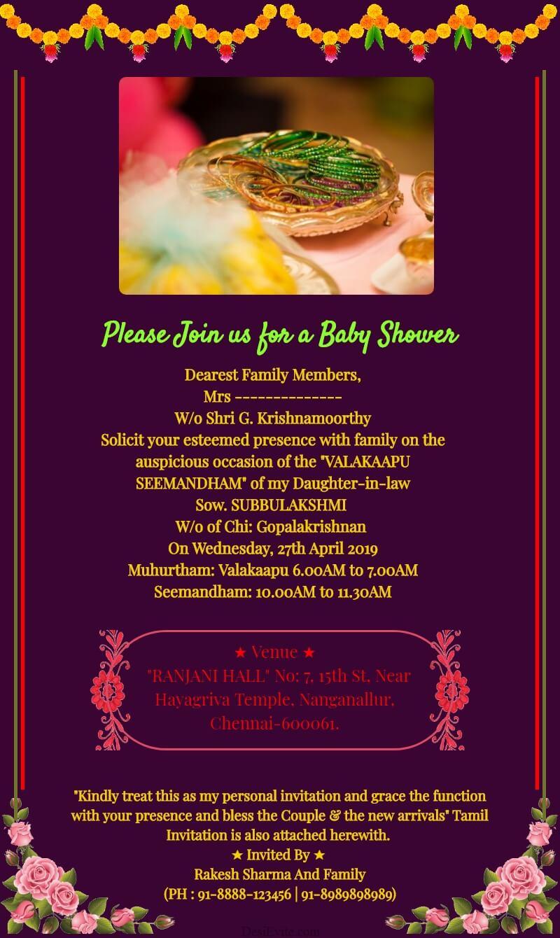 valaikappu seemantham invitation card template 51