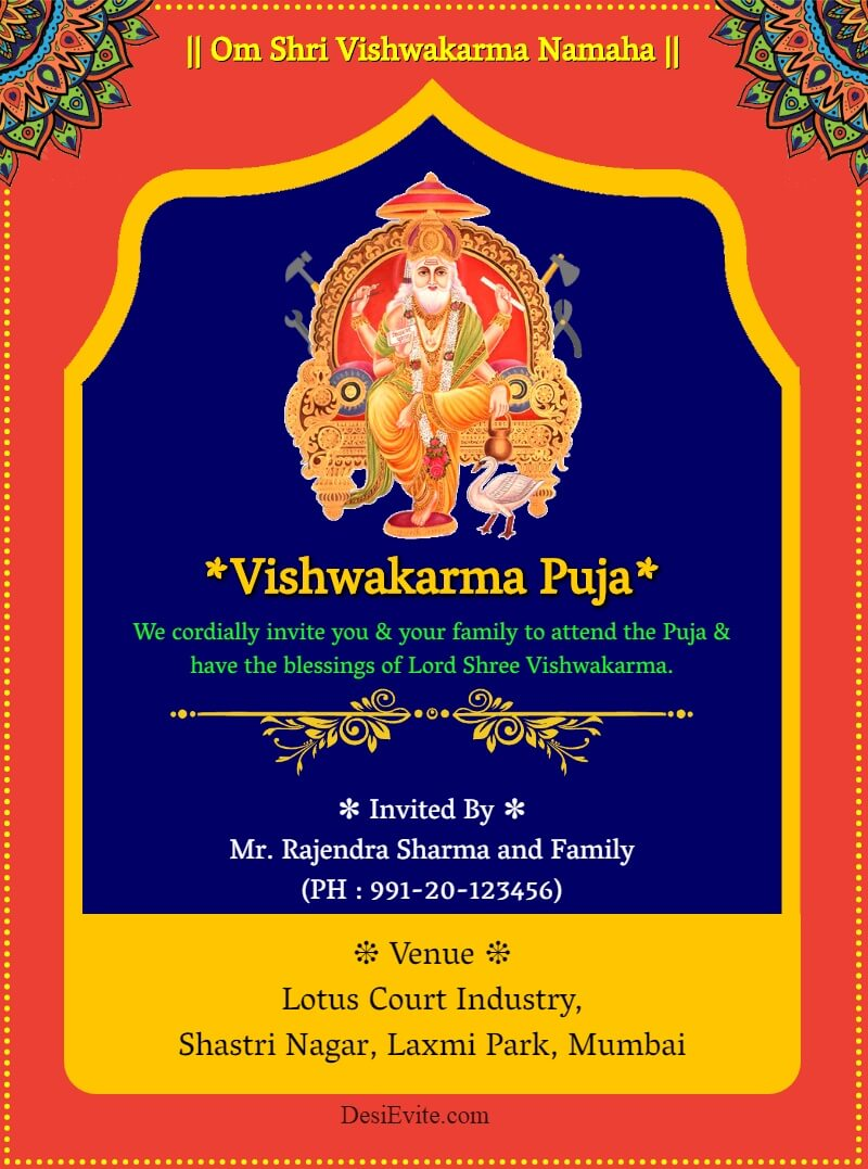vishwakarma jayanti function invitation card template 118