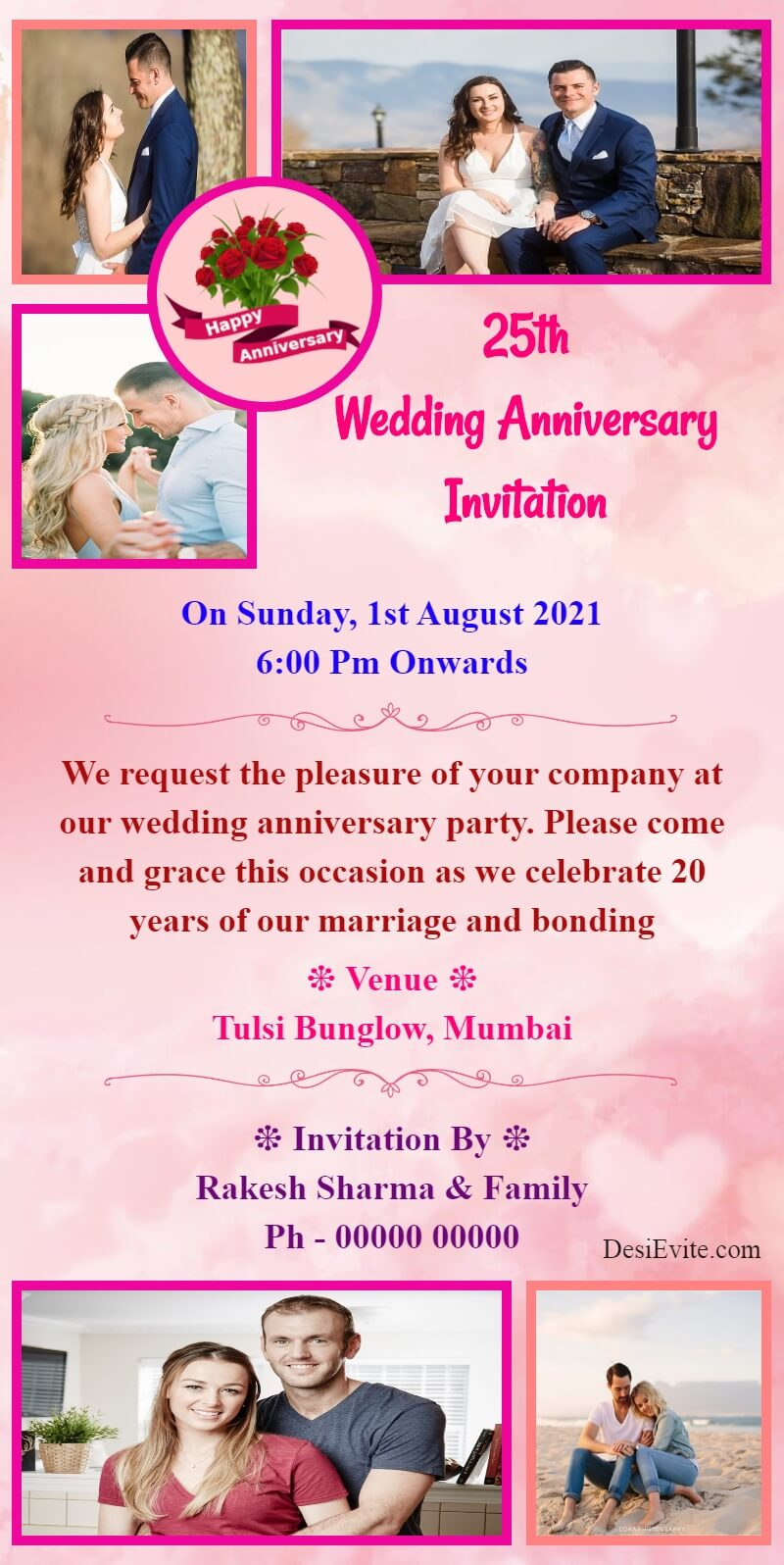 wedding anniversary card with 5 photo template 71