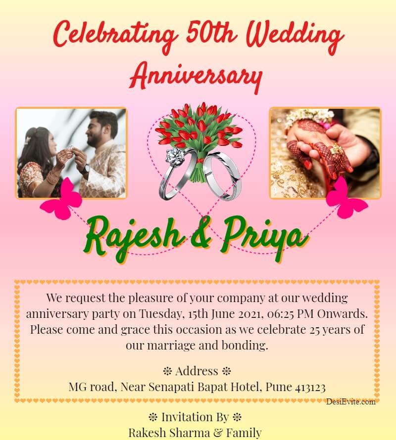 wedding anniversary invitation card with 2 photo 143