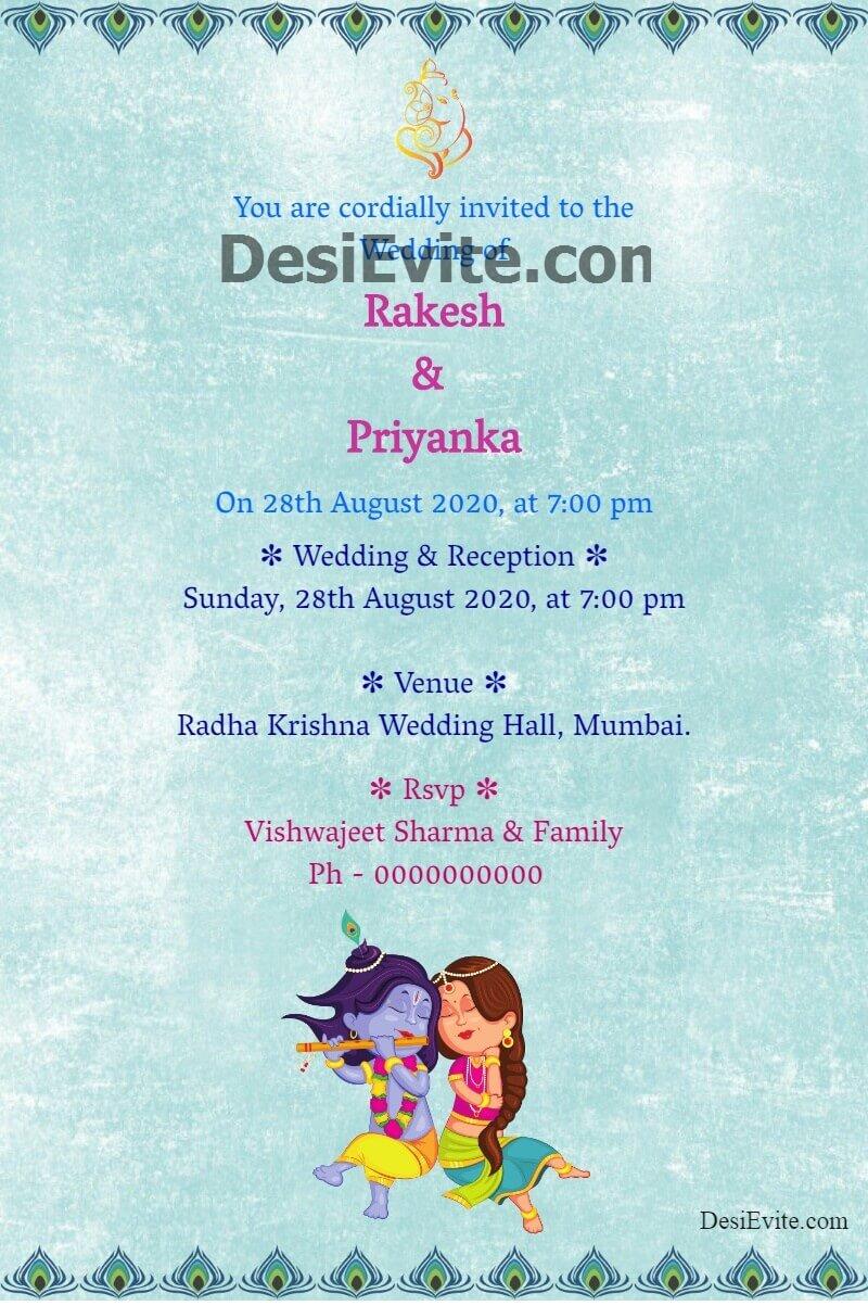 wedding invitation card radha krishna theme template 75