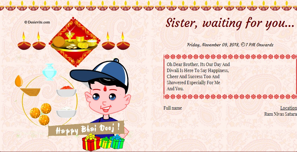 Bhai Dooj invitation card format english