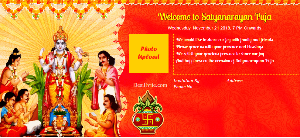 Satyanarayan Puja Invitation card format english