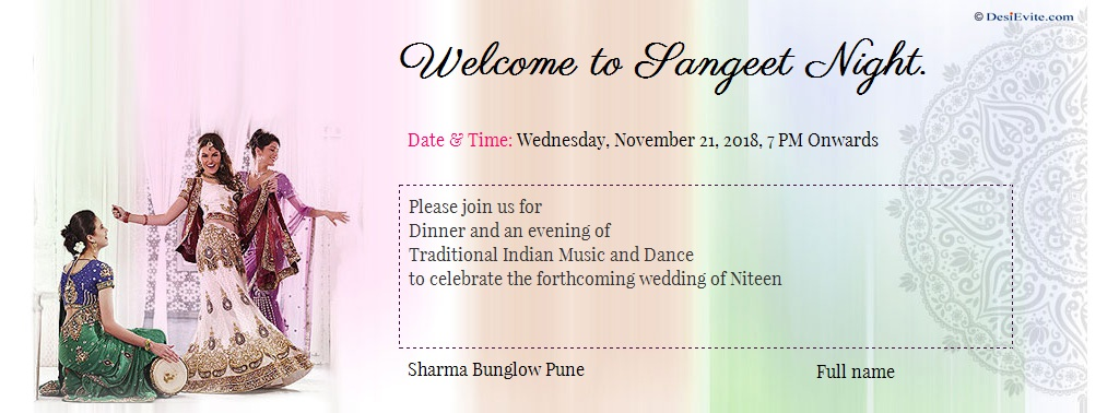 mehendi and sangeet ceremony invitation card format english