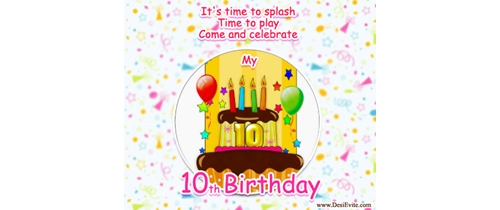 It's time to splash 10th Birthday party invitation