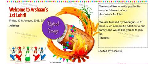 Welcome to Arshaan's 1st Lohri! (first lohri invitation card)