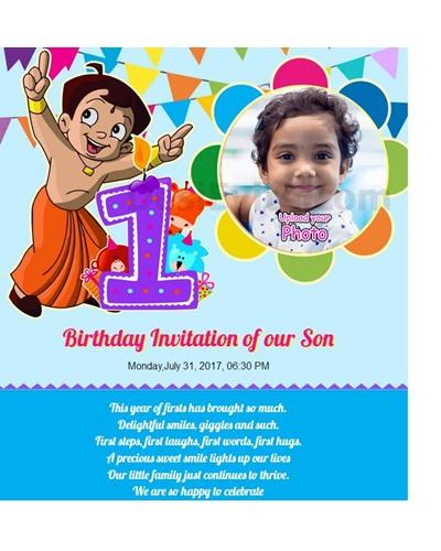 Free 1st birthday invitation card online invitations invitation with image chota bheem theme 1st birthday invitation card stopboris Image collections