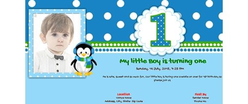 Invitation With Image My Little Boy Is Turning One First Birthday Card
