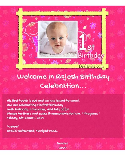 Invitation With Image 1st Birthday Party